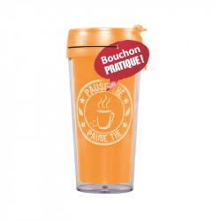 Grossiste et fournisseur. Mug de transport isotherme orange