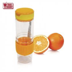 Grossiste et fournisseur. Bouteille détoxication avec presse agrume intégré 60 cl orange.