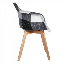 Grossiste. Fauteuil scandinave patchwork gris