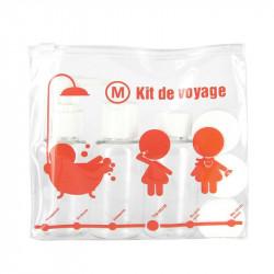 Grossiste. Kit de voyage orange avec 3 flacons et 3 pots