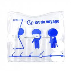 Grossiste. Kit de voyage bleu avec 3 flacons et 3 pots