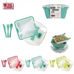 Grossiste. Lunch box compartimenté à clipser avec 3 couverts