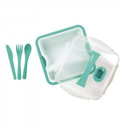 Grossiste. Lunch box turquoise compartimenté à clipser avec 3 couverts