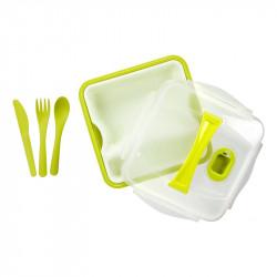 Grossiste. Lunch box vert compartimenté à clipser avec 3 couverts