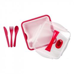 Grossiste. Lunch box rouge compartimenté à clipser avec 3 couverts