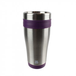 Grossiste. Mug de transport isotherme  violet en inox - 400 ml