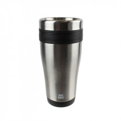 Grossiste. Mug de transport isotherme noir en inox - 400 ml