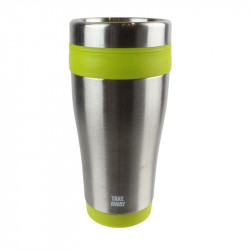 Grossiste. Mug de transport isotherme vert en inox - 400 ml