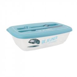 Grossiste. Lunch box illustré bleu clair avec couverts
