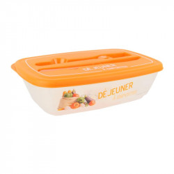 Grossiste. Lunch box illustré orange avec couverts