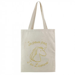 Grossiste. Tote bag licorne doré