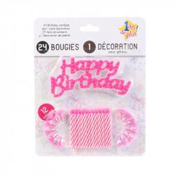 Grossiste et fournisseur. Bougie d'anniversaire x24 et support x12 rose.