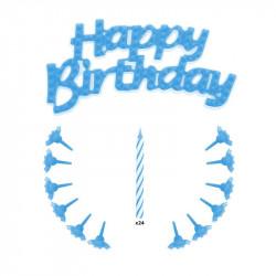 Grossiste et fournisseur. Bougie d'anniversaire x24 et support x12 bleu.