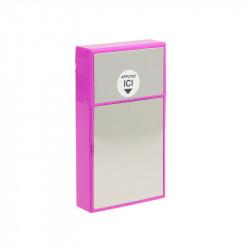 Grossiste. Etui pour paquet de cigarettes slim rose avec effet miroir