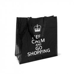 Grossiste. Sac de shopping Keep Calm and go shopping noir.