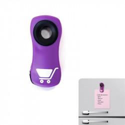 Grossiste. Pince aimantée du frigo violette x 3