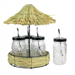 Grossiste. Mason Jar x 4 avec support rond paillote