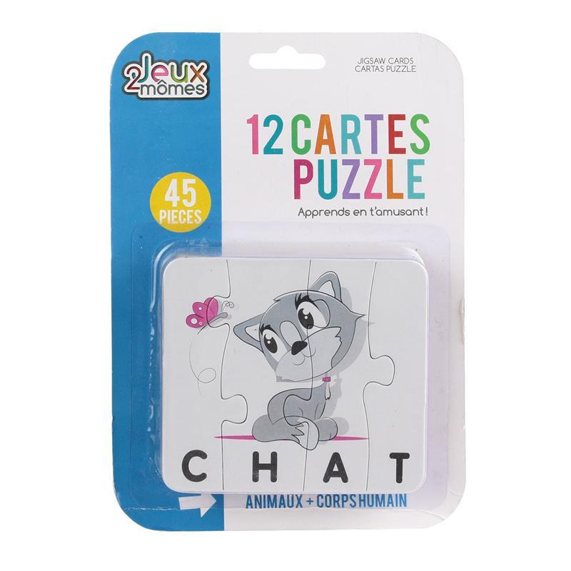 Grossiste. Carte puzzle pour apprentissage de mots x 12