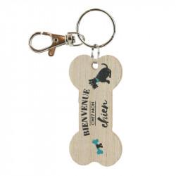 Grossiste. Porte-clés en bois en forme d'os pour chien beige