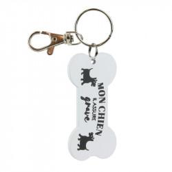 Grossiste. Porte-clés en bois en forme d'os pour chien blanc
