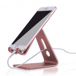 Grossiste. Support horizontal pour smartphone et tablette en aluminium - Rose or
