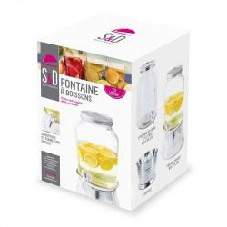 Grossiste et fournisseur. Fontaine à boissons en verre et fer blanc 3.75 L