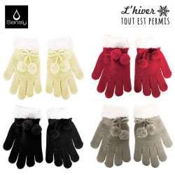Women's gloves with pom pom
