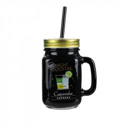 Grossiste. Mug à cocktail de 440 ml noir et doré avec paille réutilisable