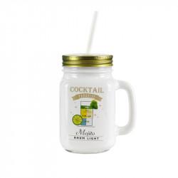 Grossiste. Mug à cocktail de 440 ml blanc et doré avec paille réutilisable