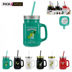 Grossiste. Mug à cocktail de 440 ml avec paille réutilisable