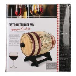 Grossiste et fournisseur. Distributeur à vin tonneau 5 L bordeaux