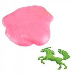 Grossiste. Pochette de pâte gluante avec un jouet licorne verte