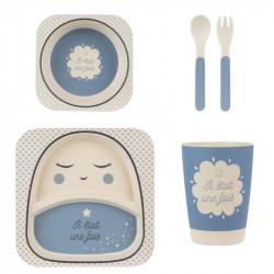 Grossiste. Set de repas pour enfants en bambou bleu x 5