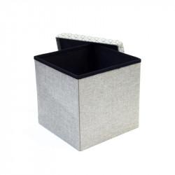 Grossiste et fournisseur. Coffre rangement pouf pliable gris motif noir