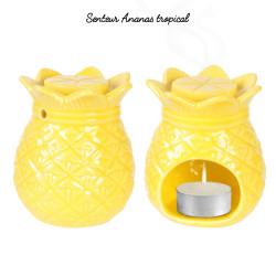 Brûle parfum en forme d'ananas avec cire parfumée jaune