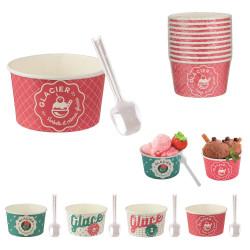 Grossiste. Coupelle à glace en papier et cuillère blanc et rose.