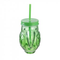 Grossiste. Mason jar exotique spécial toucan de 45 cl verte.
