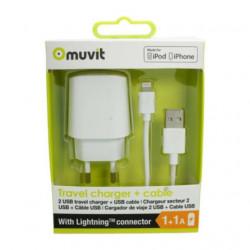 Grossiste. Chargeur secteur 2 USB + câble 2A USB/Lightning de 1m Muvit - Blanc