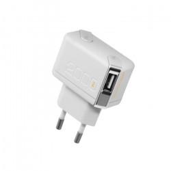 Grossiste. Chargeur secteur double USB + câble USB de 2000mA blanc pour iPhone 5/5S Unplug