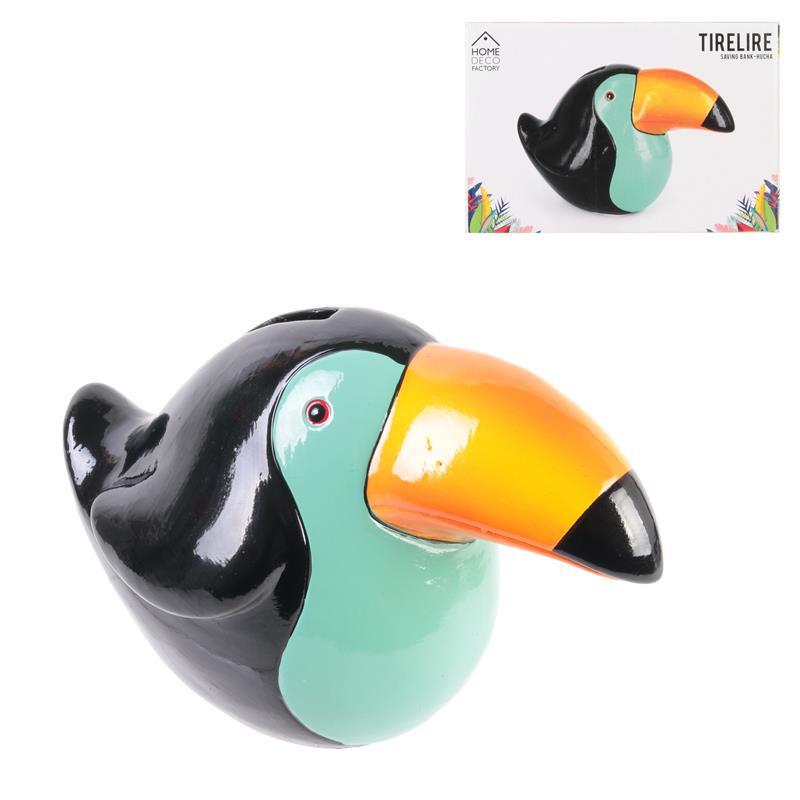 Grossiste. Tirelire toucan exotique.