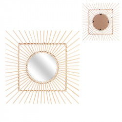 Square mirror made of rattan