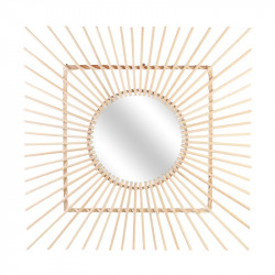 Grossiste miroir carré en rotin.
