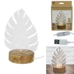 Grossiste. Lampe en acrylique au design feuilles et support en bois