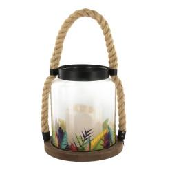 Grossiste. Lanterne en verre avec bougie à LED au design exotique feuille