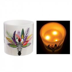 Grossiste. Bougie à LED style exotique blanche spécial zèbre - 15 x 15 cm