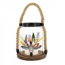 Grossiste. Lanterne en verre avec bougie à LED au design exotique zèbre