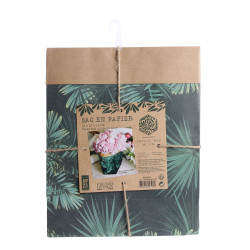 Grossiste sac en papier Natural Life - 26x21x10cm vert