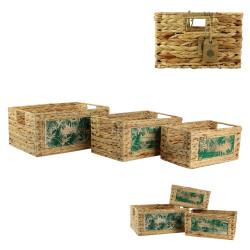 Grossiste bac en jacinthe incluant une plaque en bois x 3
