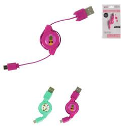 Grossiste Câble retractable micro USB rose