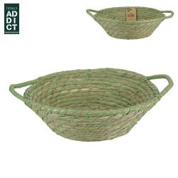 Grossiste Corbeille tressée verte avec 2 anses